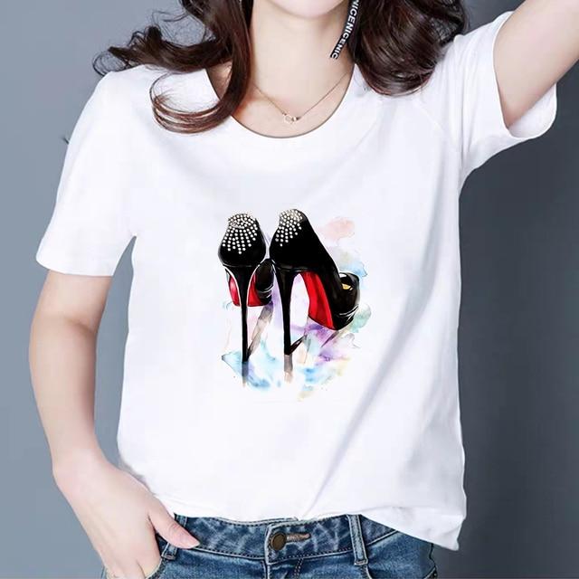 New T shirt 여성 빈티지 카와이 탑 하이힐 구두 Vestidos Cheap Pretty 패션 T 셔츠 하라주쿠 펑크 힙합 T 셔츠
