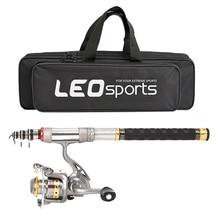 цена на Leo Telescopic Fishing Rod And Reel Combo Full Kit Spinning Fishing Reel Gear Organizer Pole Set