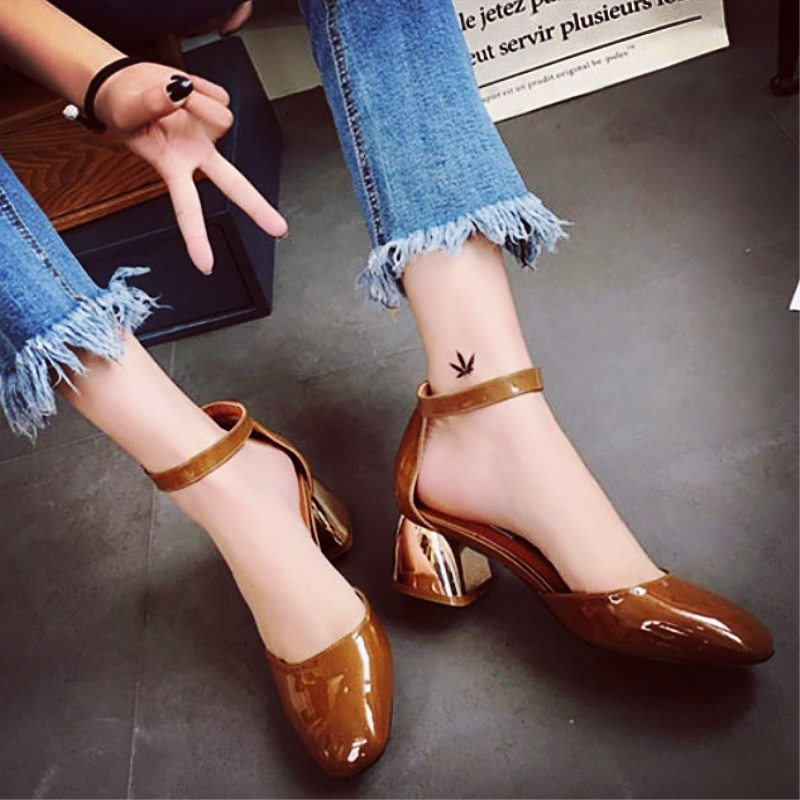 EOEODOIT Spring Summer Leather Pumps Shoes Shining Leather Square Toe Fashion Med Square Chunky Heels Sandals Office Lady Shoes