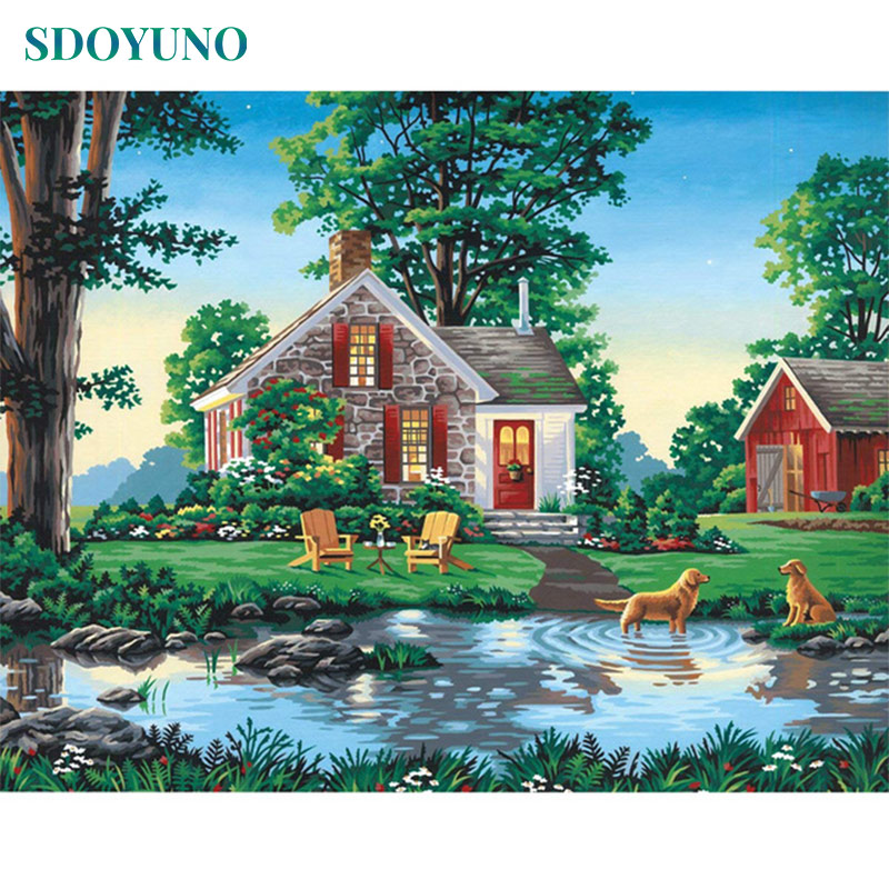 SDOYUNO 60x75cm Painting By Numbers For Adults Frameless Digital Painting Villa Oil Paint By Numbers On Canvas DIY Home Decor