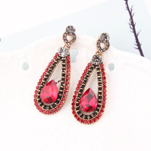 LUBOV Exaggerated RED Crystal Lace Golden Metal Chain Dangle Earrings Women Personality Statement Drop Christmas Gift