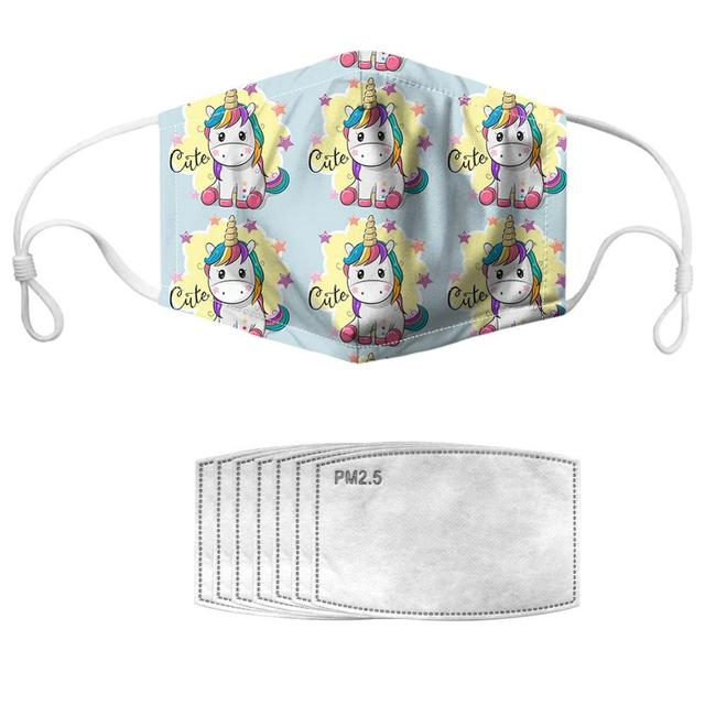 NOISYDESIGNS 1pc With 7pcs Filters Mouth Masks Adjustable Kpop Face Cover Masker Cool Horses Pattern Mascherine 1
