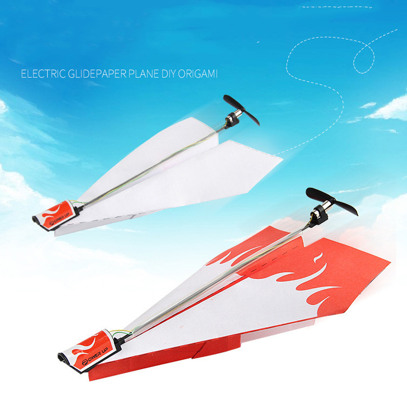 RC Folding Paper Model Airplane Toys Diecast Aircraft Model Toy Air Plane DIY Motor Power Red RC Plane Power Kids Boy Toy image