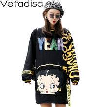Vefadisa Women Cartoon Girl Pattern Letter Print Pullover Sweatshirt Dress 2018 Autumn Sequin Letter Sweatshirt Dress DQ501(China)