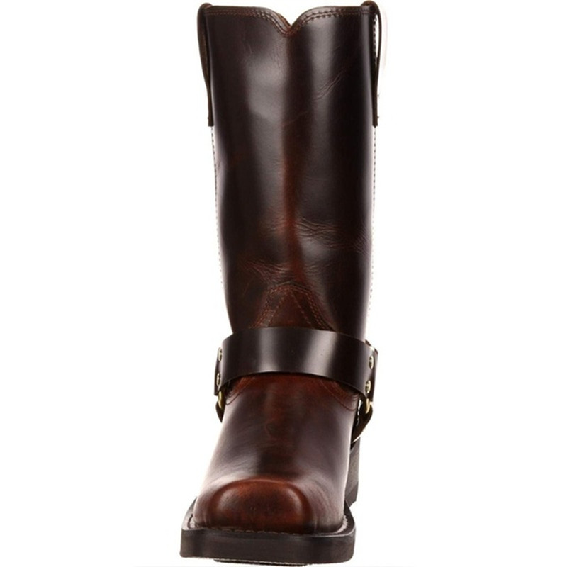 Woman Knee High Boots Combat Vintage Leather Boots Rider Horse Boot (11)