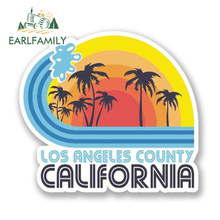 EARLFAMILY-pegatina de vinilo de Los Ángeles y California para decoración de ventanas y maletero, pegatina para coche impermeable con gráfico, 13cm x 11cm