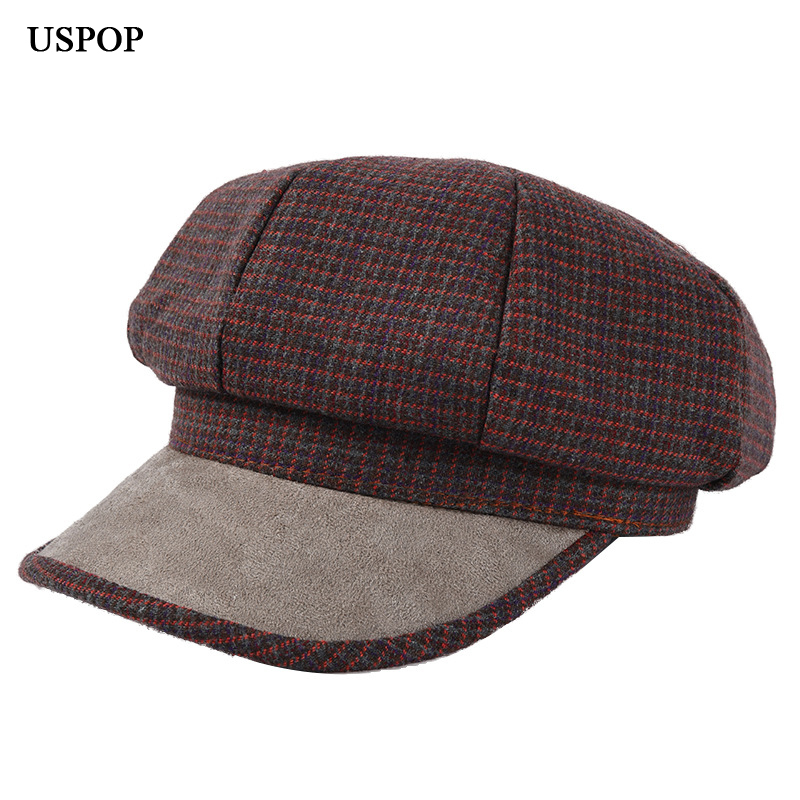 USPOP hats women plaid octagonal hats vintage wool newsboy caps female patchwork visor cap in Men 39 s Newsboy Caps from Apparel Accessories