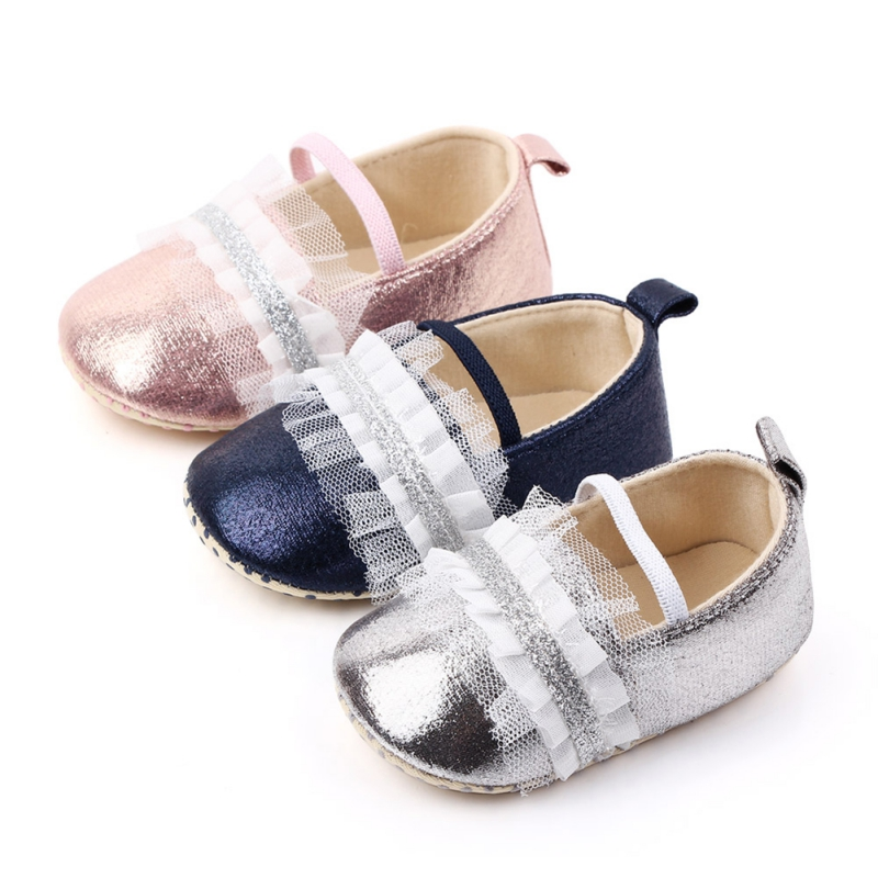 Toddler Girl Soft Sole Crib Cute Shoes Sequins Flat Sneaker Baby Lace Blue Silver Pink Shoes Prewalker PU Moccasins For Girls
