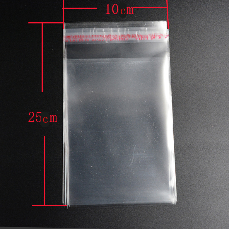 Pouches 50pcs 10*25cm Clear Resealable Cellophane/BOPP/Poly Bags Transparent OPP Packing Plastic Bags Self Adhesive Seal