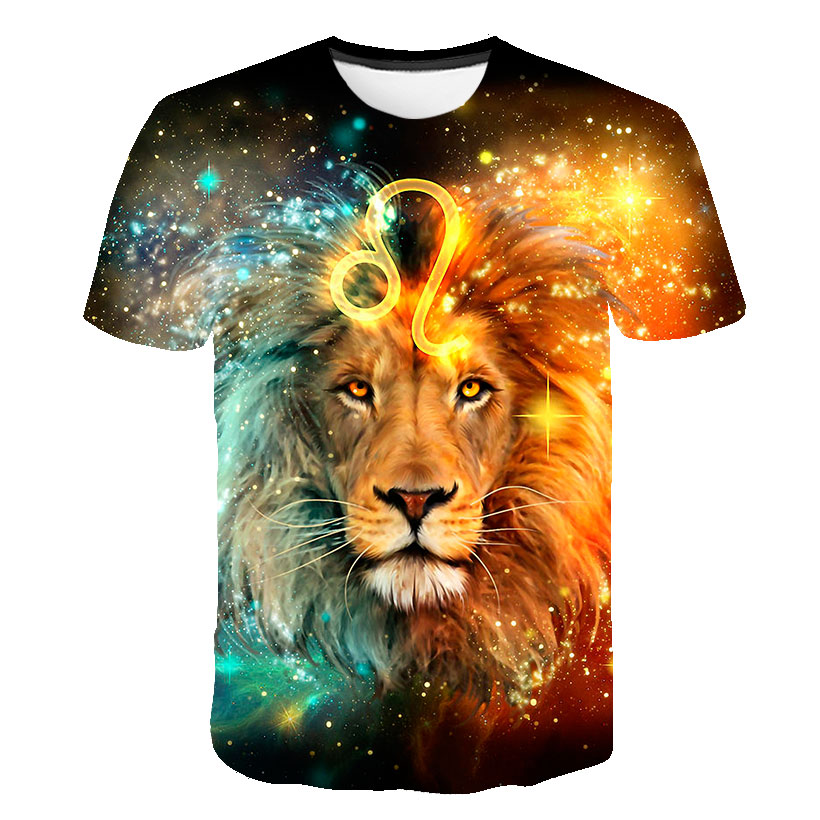 Mens T-shirt 3D Print Lion King Pattern Printed Tops 2019 Fashion Latest T-shirt Men Casual Breathable Tops Tee Fashion Tops Te