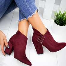 Mode femmes bottes chaussures cheville Sexy bottes courtes à talons hauts plate-forme de mode pointu Europe chaussures grande taille 43(China)