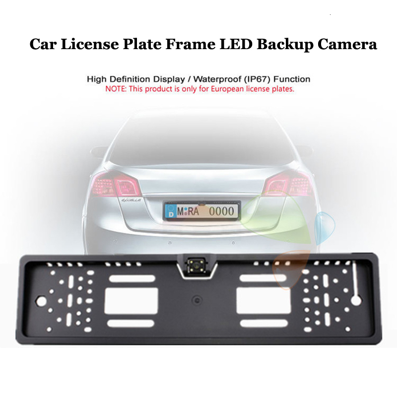Car License Plate Frame LED Backup Camera Waterproof European Auto Automobiles Number Plate Holder Bracket Parking Rearview Cam|License Plate| |  - title=