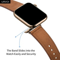 URVOI band for apple watch series 6 5 4 3 2 SE sport band Genuine Swift leather strap for iWatch wrist Pin&tuck closure Handmade 2