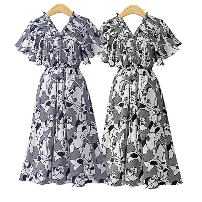 Collapse Environment For Europe And America Large Size Dress Printed Horizontal Neck Chiffon Loose-Fit Dress Fat Mm Skirt D134