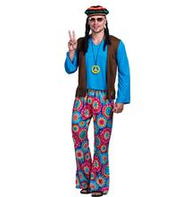 Men 70s Retro Hippie Peace and Love Free Vest Costume Carnival Party Vintage Adult Male Outfits Clothing Halloween Costumes