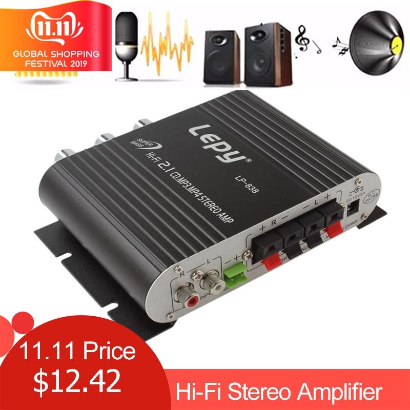 Lepy LP 838 Power Car Amplifier Hi Fi 2.1 MP3 Radio Audio Stereo Bass Speaker Booster Player for Motorbike Home No Power Plug