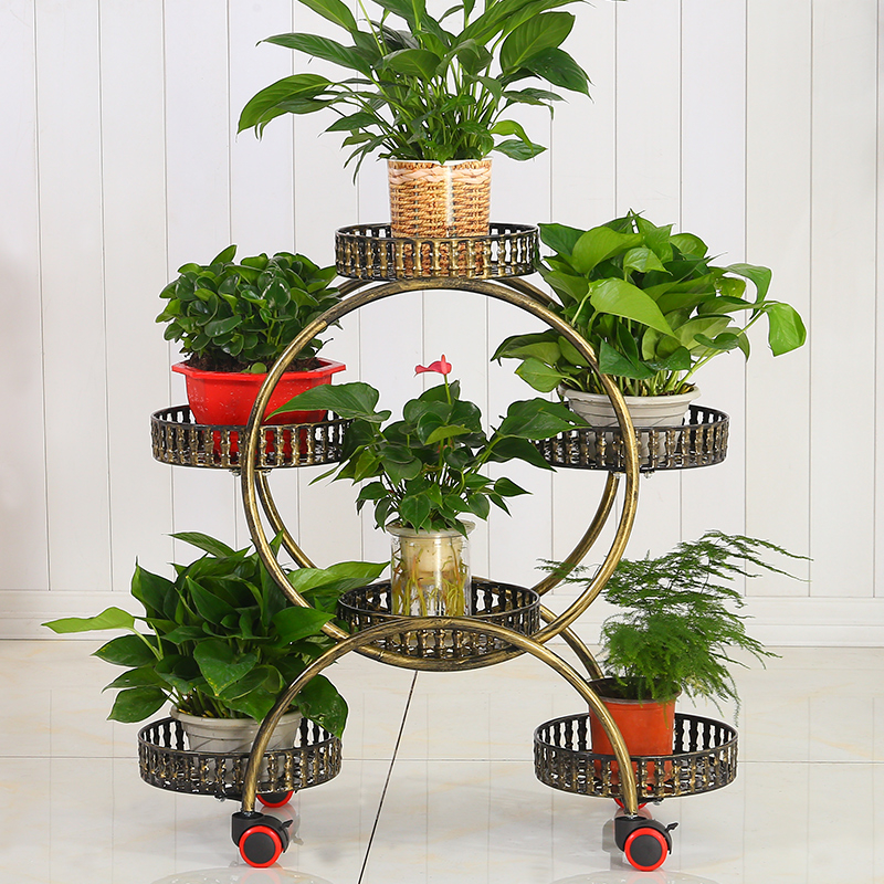 Iron Art Multi-storey Flower Airs Room Introspection Space Green Luo Balcony Shelf A Living Room Belt Round Flowerpot Frame