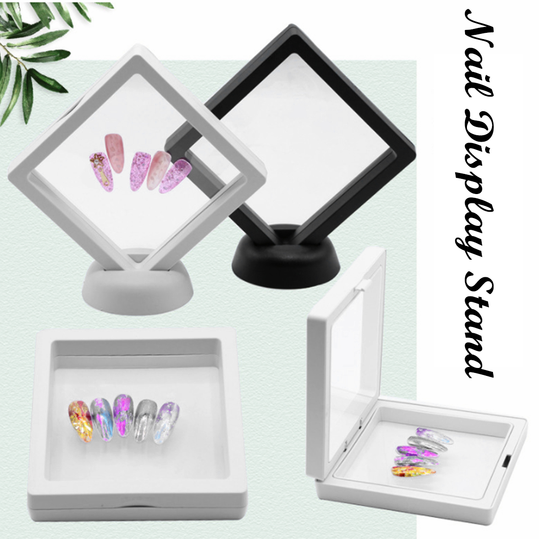 Nail Art Tools 1pcs White/Black Nail Tips Display Stand Holder Acrylic With Membrane Nails Deigns Showing Board Manicure