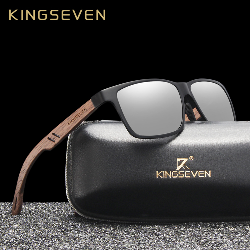 KINGSEVEN Brand New Design Aluminum+Walnut Wooden Handmade Sunglasses Men Polarized Eyewear Accessories Sun Glasses For Women 1