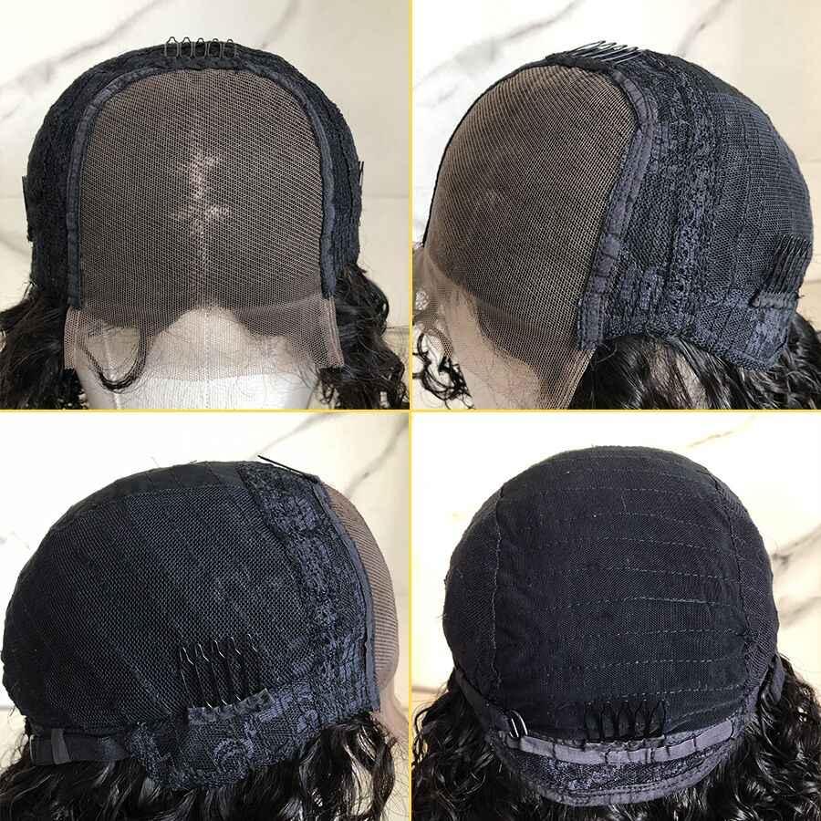 4*4 Vetersluiting Pruik Menselijk Haar Pruiken Blunt Cut Korte Rechte Bob Pruik Voor Vrouwen Remy Braziliaanse Pre geplukt Vetersluiting Pruiken