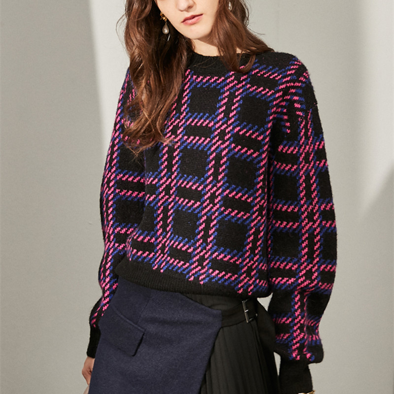 wool sweater and pullover jumper women winter warm thick plaid sweater high quality brand knitwear 2019