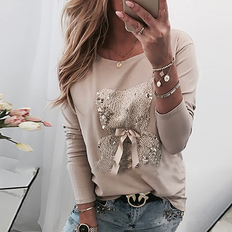 Sequin Cartoon Pattern Long Sleeve Casual Tshirts Women O Neck Bow Knot Lady Tops Tee Spring Autumn Female Tshirt Clothes