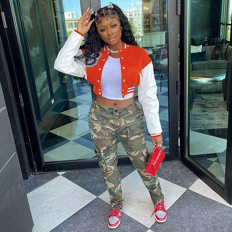 H2c05dc7c79fc4e3ab9260c52f6340baaX Baseball Jackets for Women 2021 Autumn Letter Print Color Patchwork Cropped Long Sleeve Loose Short Bomber Jacket