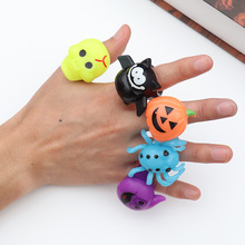 New Pumpkin Luminous Finger Ring Halloween Bat Ghost Funny Plastic Rings Skull Toys Party Props Supplies Hot Sale