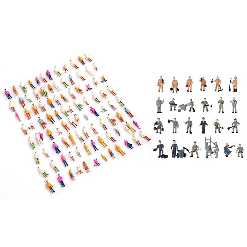 100 Pcs HO Scale 1:100 Mix Painted Model Train Park Street Passenger People Figures & 25 Pcs 1:87 Figurines Painted Figures Mini