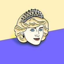 Broche de esmalte de la princesa Diana Spencer broche de la vendimia del aniversario de la princesa Diana Escudo de insignia solapa de la mochila para las mujeres amigas regalos