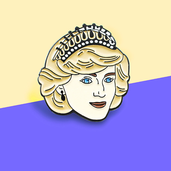 Princess Diana Spencer Enamel Pins Brooch Vintage Anniversary Princess Diana Badge Coat Backpack Lapel For women Friends Gifts image