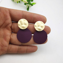 Round Pendant Earrings Irregular Matte Gold Geometric Hanging 25mm Spray Painted Metal for Women Jewelry