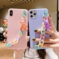 3D dibujos animados caramelos oso cadena para la muñeca suave caso de teléfono para Samsung Galaxy S20 S20FE S30 S10 S9 S8 Nota 20 Ultra 9 10 Plus J4 J6 A750