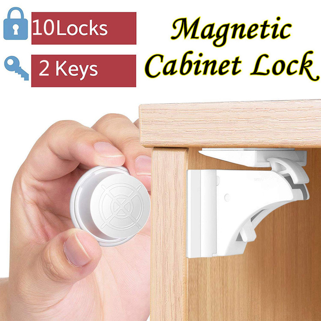 Magnetic Children Safety Door Lock Limiter 10 Locks+2 Keys Baby Drawer Latch Cabinet Protection Security Invisible Locks #L15