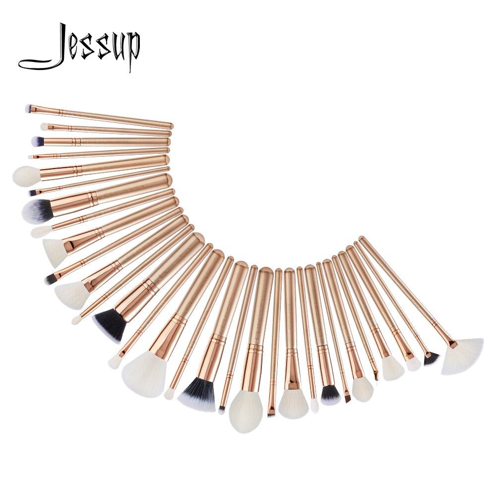 Jessup набор кистей для макияжа Пудра Тени для век основа для румян для контура подводка кисти для макияжа 18-25 шт золотые синтетические волосы