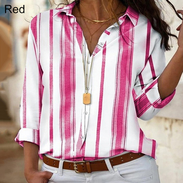 Spring Women Striped Blouse Shirt Chiffon Long Sleeve Turn Collar Female Top Chothes Casual Plus Size 5XL Loose Girls Blouses 2