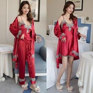 Image 2 - 4PCS סאטן הלבשת ליידי פיג מה חליפת נייטי & Robe סט סקסי אינטימי הלבשה תחתונה מזדמן כלה חתונה מתנה Homewear כתונת לילה