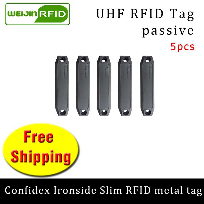 UHF RFID Metal Tag Confidex Ironside Slim 915m 868mhz Impinj Monza4QT EPC 5pcs Free Shipping Durable ABS Smart Passive RFID Tags