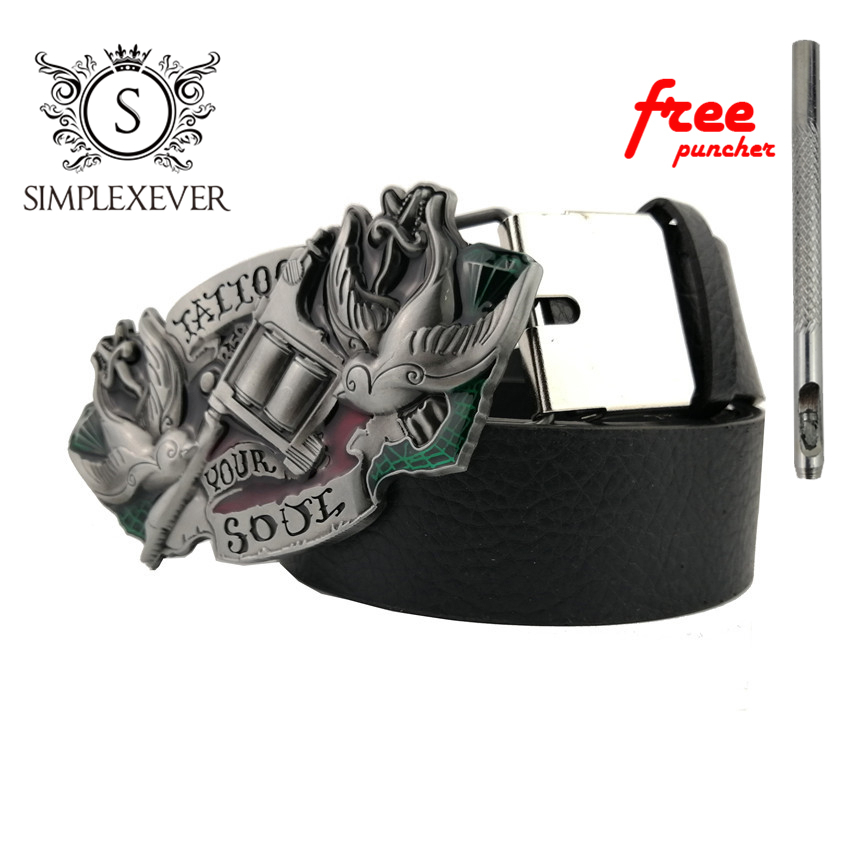 Western Cowboys Tattoo Your Soul Belt Buckle With PU Belt Removable Nice Metal Belt Buckle For Men As Festival Gifts