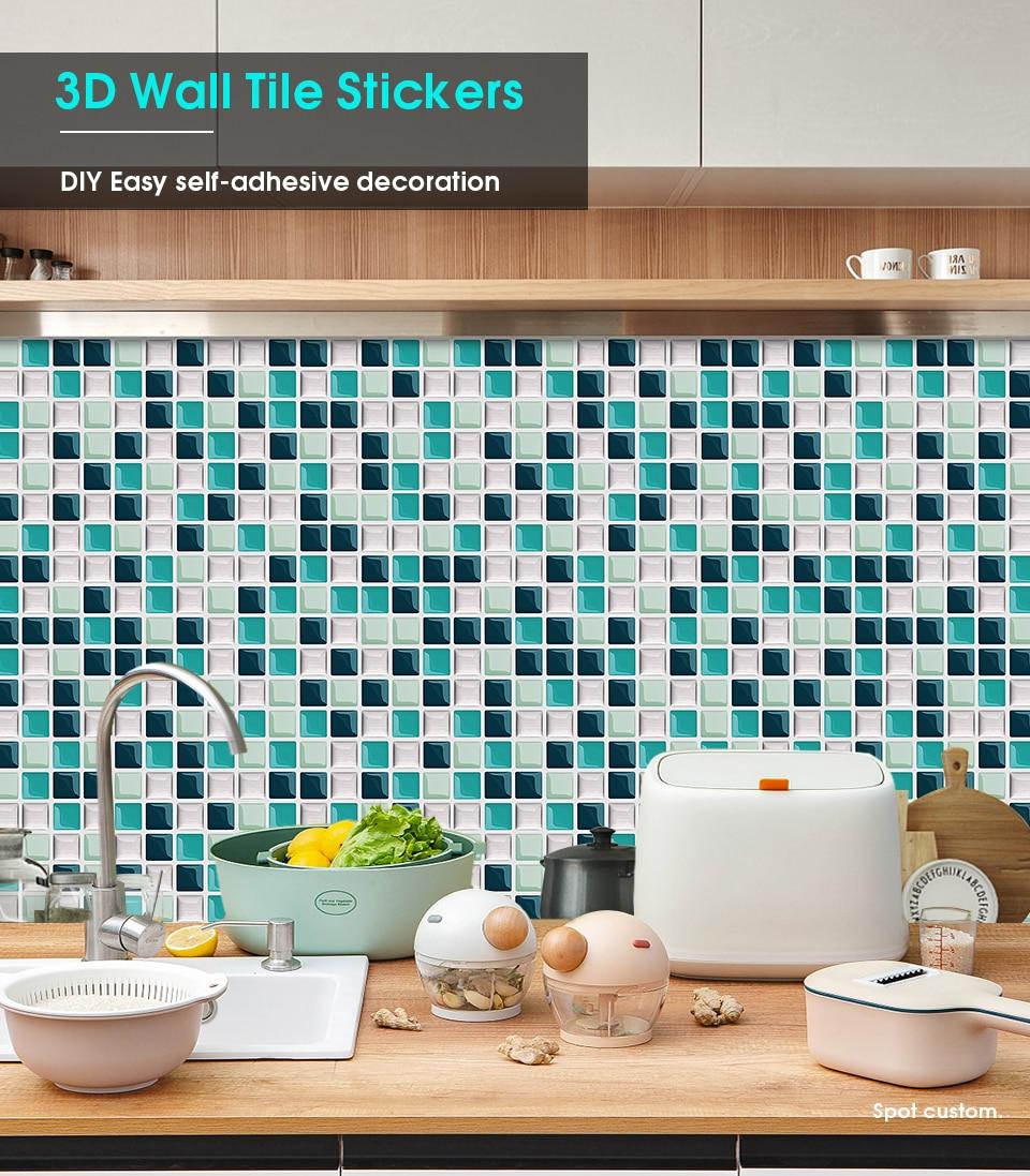 Self adhesive Backsplash DIY Kitchen Bathroom Waterproof Vinyl 9D Peel and  Stick Mosaic Tiles
