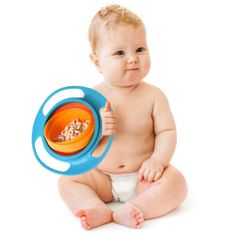 Hot Creative Baby Solid Feeding Dish Cute Baby Bowl Universal 360 Rotate Spill-Proof Learning Dishes Bow For Kid Eating Training