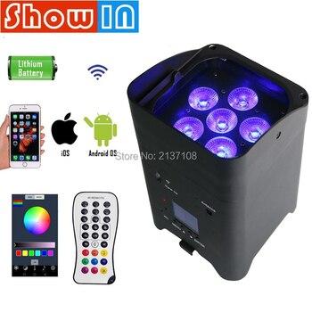 6*15W Mini LED Par Uplight Wifi Wireless Rechargeable Battery RGBWAUV IR Remote DMX Luce DJ Disco Party Nightclub Stage Lighting