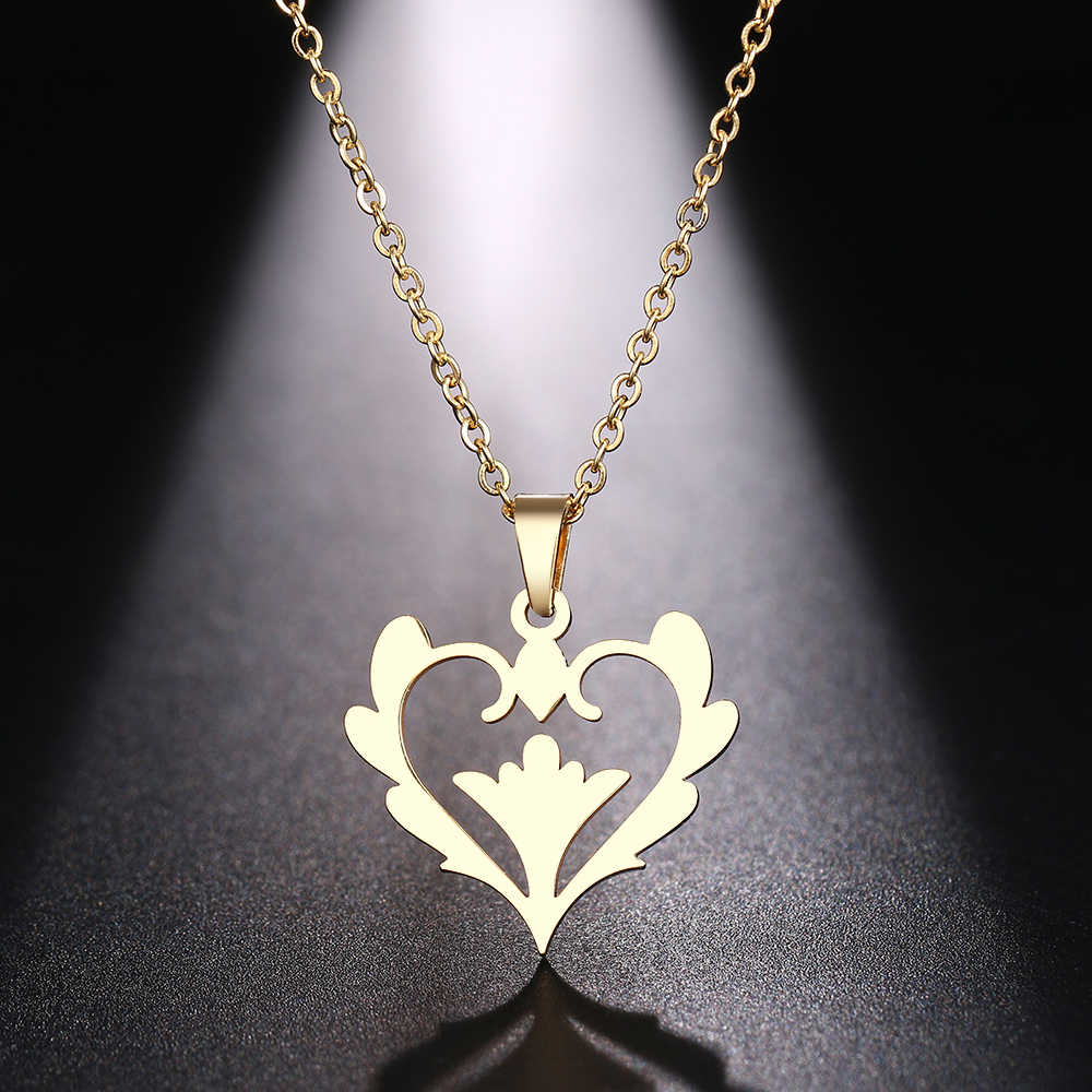 DOTIFI Stainless Steel Necklace For Women Flower Heart Hollw Choker Pendant Necklace Engagement Jewelry