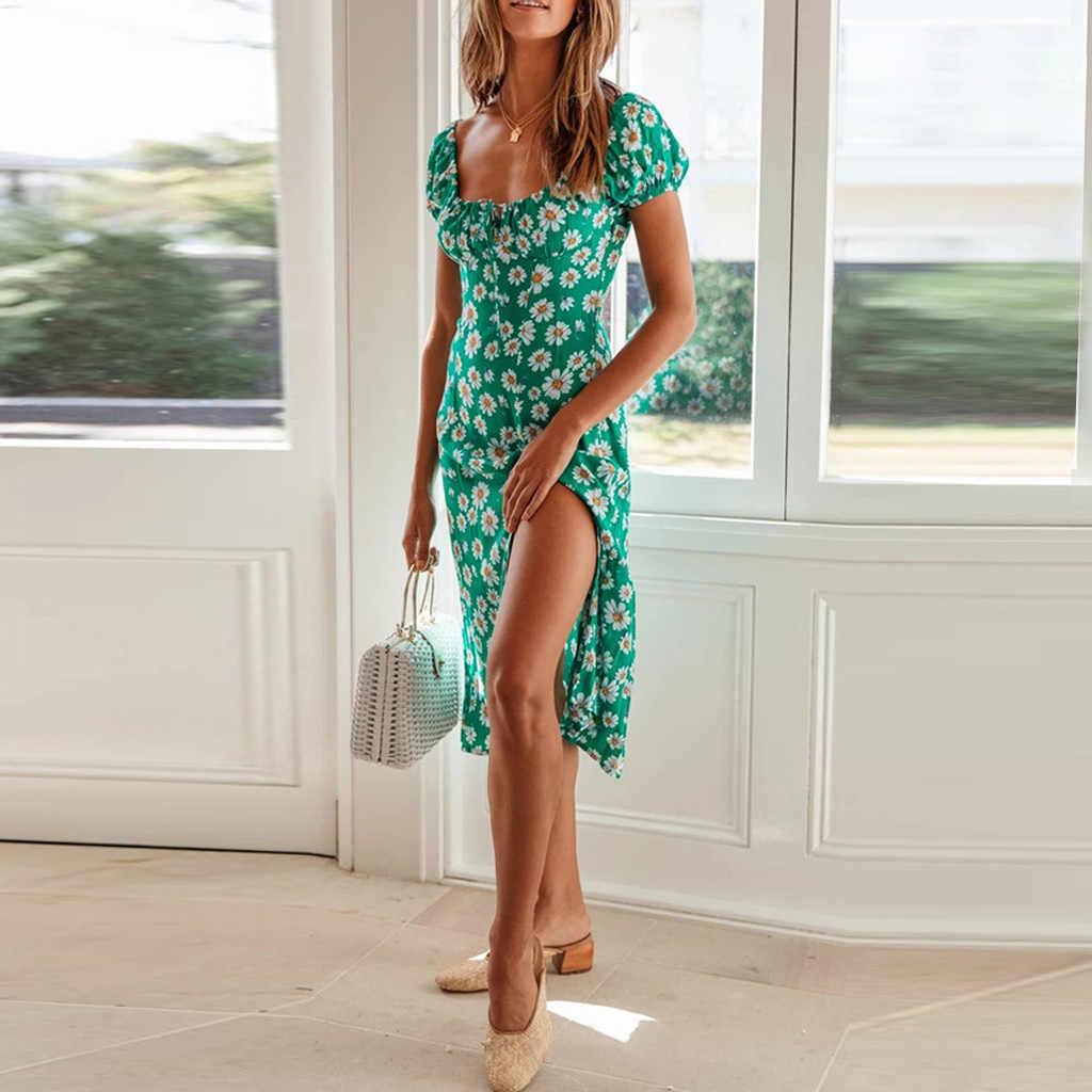 Vestido de moda para mujer con estampado Floral de Margarita, cuello cuadrado, mangas cortas, vestido de corte línea A, manga de soplo, Vestido de playa o vacaciones