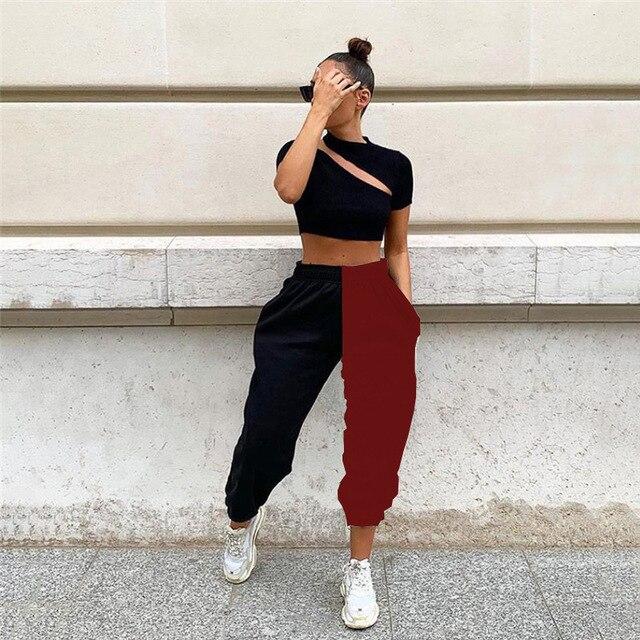 Anbenser Black White Color Block Hip Hop Trousers Women High Waist Jogger Pants Female Korean Gym Sweatpants Streetwear Oversize