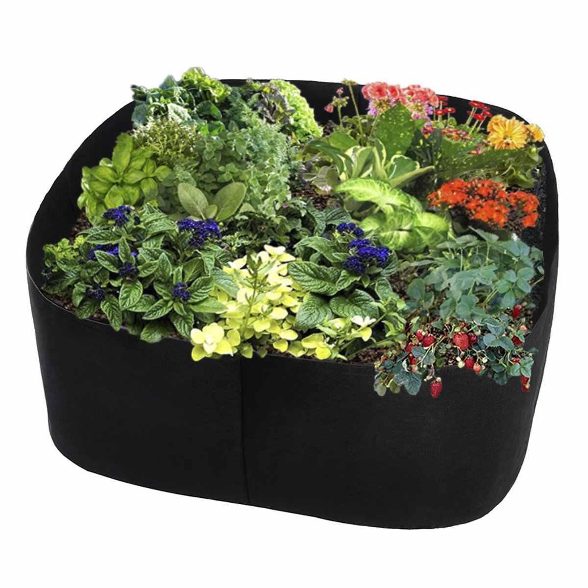 折りたたみ育てるバッグプランター 60 × 60 × 30 センチメートル黒保育園ポットホルダー植栽バッグ通気性フェルト生地野菜コンテナ
