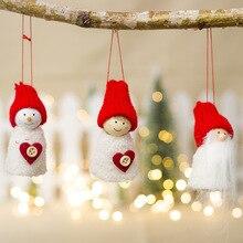 3Pcs Doll Pine Cone Pendants Christmas Tree Snowman Decorations Ornaments Kids Gift wedding decorations