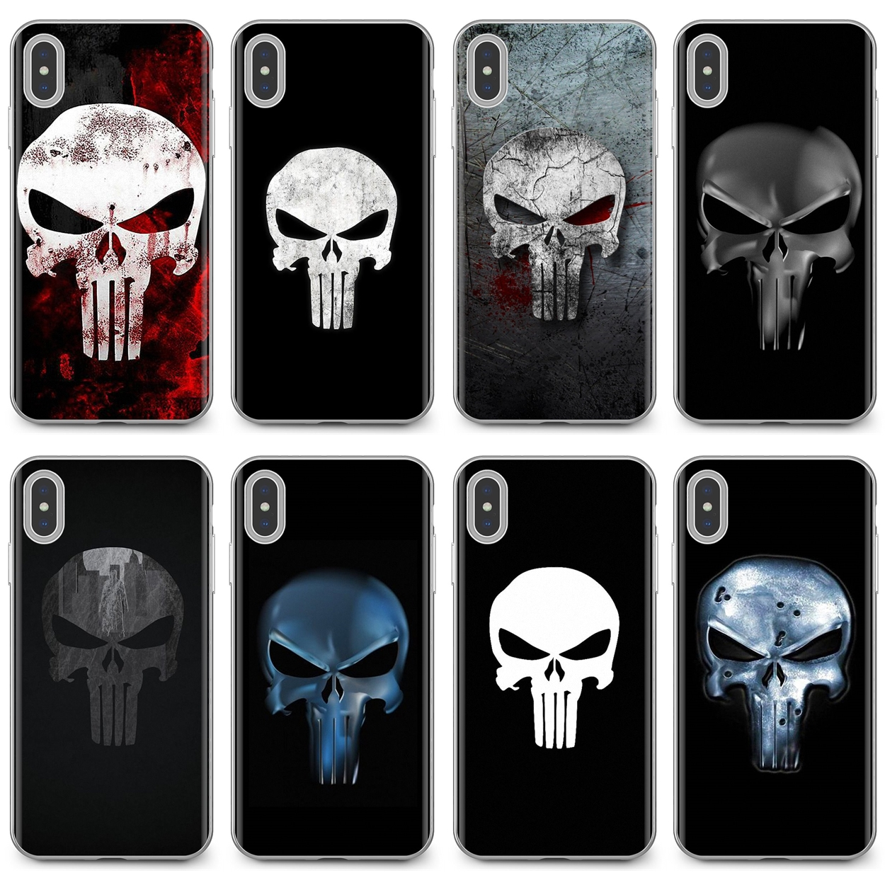 comic The Punisher Skull Metal For Xiaomi Redmi 4A 7A S2 Note 8 3 3S 4 4X 5 Plus 6 7 6A Pro Pocophone F1 Buy Silicone Phone Case(China)