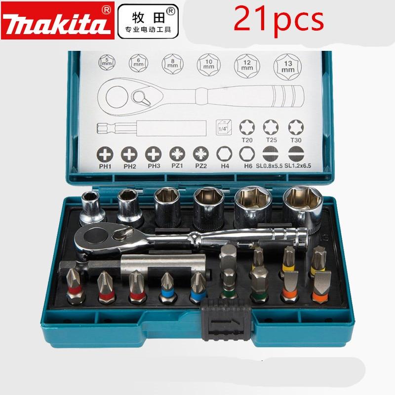 Makita B-54081 Ratchet And Bit-Set 21Pcs DIY Strong Screwdriver Mechanic KIT  AUTOCLEAR C / MATRACA AND ACCESSORIES