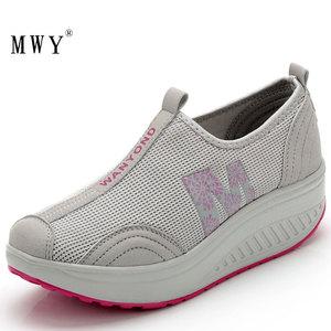 Image 3 - MWY Balanço Das Mulheres Sapatos Casuais Sapatos de Caminhada Malha Respirável Cunhas Sapatos Altura Crescente Sapatos Femininos Deportivas Mujer